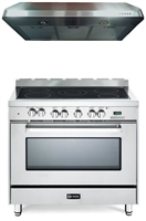 "Verona VEFSEE365SS 36"" Electric Range Oven Stainless Steel 2 Pc Kitchen Package"