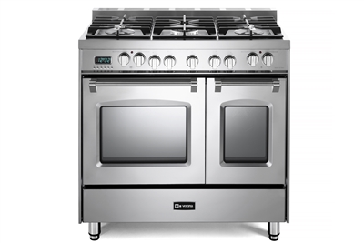 "Verona Prestige Series VPFSGE365DSS  36"" Dual Fuel Range Convection Double Oven Stainless Steel"