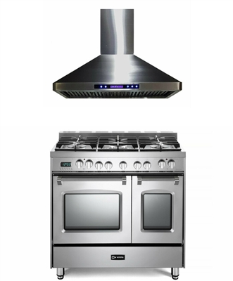 "Verona Prestige Series VPFSGE365DSS 36"" Dual Fuel Range Double Oven Stainless Steel With Hood 2pc Kitchen Package"