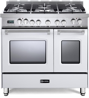 "Verona Prestige Series VPFSGE365DW 36"" Dual Fuel Range Convection Double Oven White"