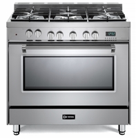 "Verona Prestige Series VPFSGE365SS 36"" Dual Fuel Range Convection Oven Stainless Steel"
