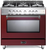"Verona Prestige Series VPFSGG365BU 36"" All Gas 5 Burner Range Convection Oven Burgundy"