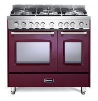 "Verona Prestige Series VPFSGG365DBU 36"" All Gas 5 Burner Double Oven Range Convection Burgundy"