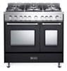 "Verona Prestige Series VPFSGG365DE 36"" All Gas 5 Burner Double Oven Range Convection Matte Black"