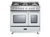 "Verona Prestige Series VPFSGG365DW 36"" All Gas 5 Burner Double Oven Range Convection White"