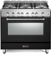 "Verona Prestige Series VPFSGG365E 36"" All Gas 5 Burner Range Convection Oven Matte Black"