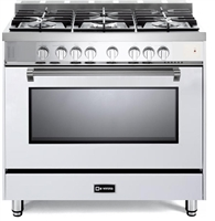 "Verona Prestige Series VPFSGG365W 36"" All Gas 5 Burner Range Convection Oven White"