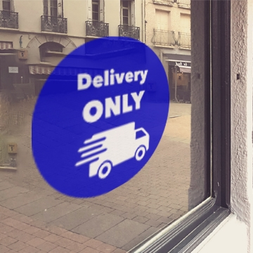BLUE 'Delivery Only' Window Cling