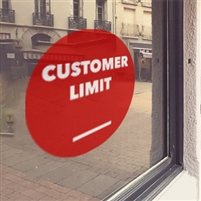 RED 'Customer Limit' Window Cling