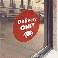 RED 'Delivery ONLY' Window Cling