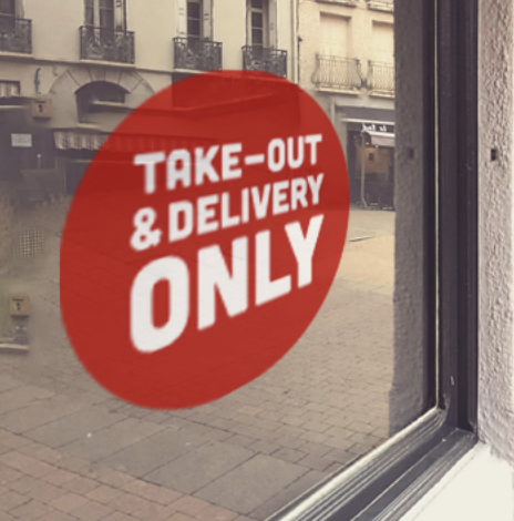 RED 'Take Out & Delivery ONLY' Window Cling