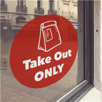 RED 'Take Out ONLY' Window Cling