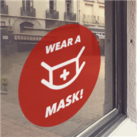 RED 'Wear A Mask' Window Cling
