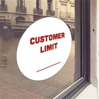 WHITE 'Customer Limit' Window Cling