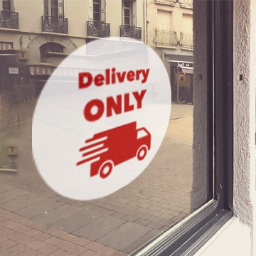 WHITE 'Delivery Only' Window Cling
