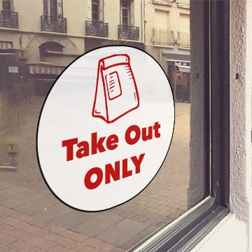 WHITE 'Take Out Only' Window Cling