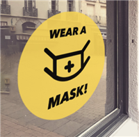 YELLOW 'Wear A Mask' Window Cling