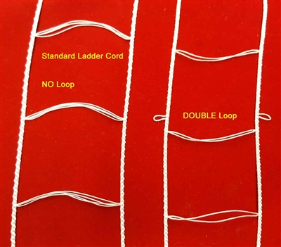 "DOUBLE LOOP, WHITE, Ladder Cord for 2"" Wood, Venetian Blind"