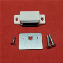 Magnet Catch & Plate Assembly Kit for Shutter.   WHITE.  Rectangle Shape