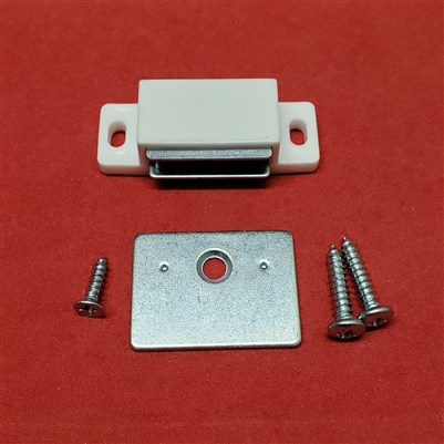 Magnet Catch & Plate Assembly Kit for Shutter.   WHITE.  Rectangle Shape. KIT4551