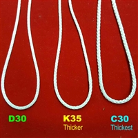2FT SAMPLE CORDLOOP includes all 3 sizes: D30, K35, C30. Natural Color. 2ft loop
