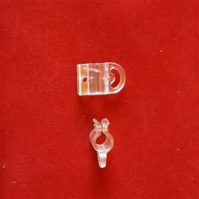 Clear plastic Clip on roman shade Rib to guide pulling cord. 3 Day Blind