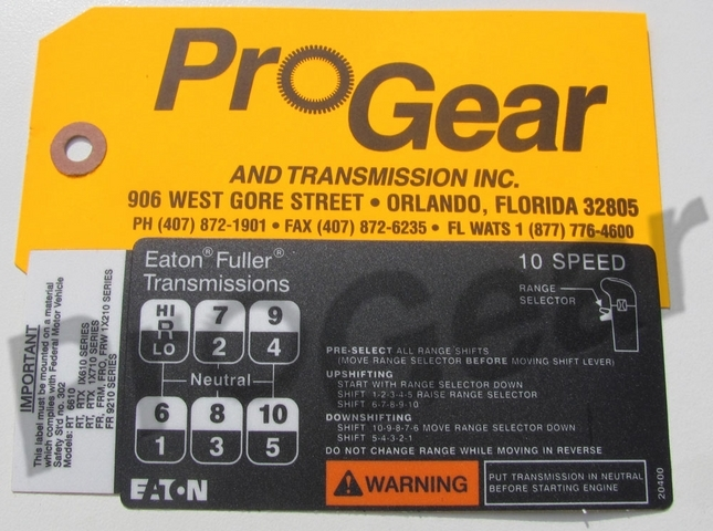 10 Speed Shift Pattern Diagram Eaton Fuller Transmission P N 20400