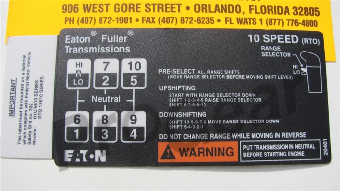 10 Speed Overdrive Shift Pattern Diagram Eaton Fuller Transmission P N 20401