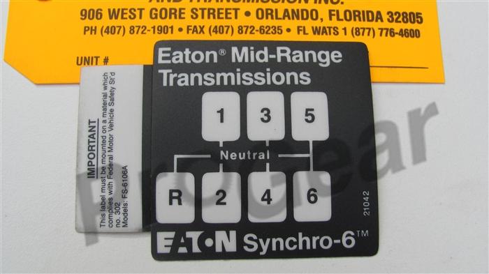 6 Speed Shift Pattern Diagram  Eaton Fuller Fs N  21042