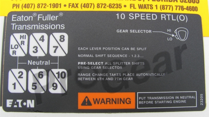 23205 Eaton Fuller Shift Label Diagram Transmission Parts