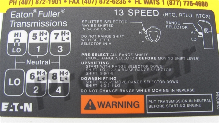 13 Speed Shift Pattern Diagram Eaton Fuller RTLO Transmission P N 4300764