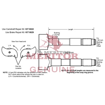 Rockwell Camshaft/Rh  P/N: 2210F6740 brake parts