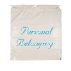 White drawstring personal belongings bag