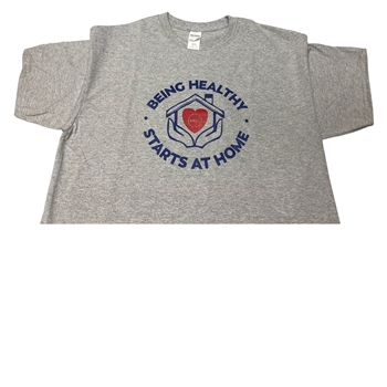 0076L Healthy starts at Home Grey T-Shirt, Large (8coupons)