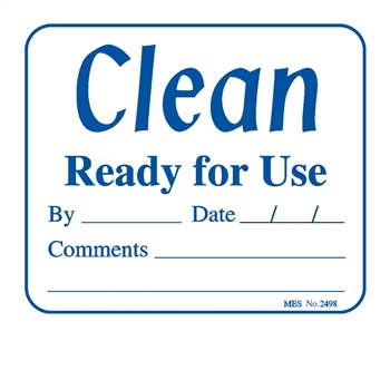 "2498 ""Clean Ready for Use"" label, 200/roll"