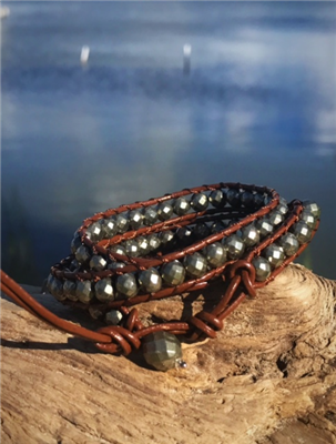 Leather and Pyrite Wrap