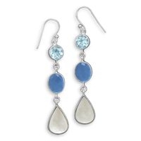 Blue Topaz Chalcedony Pearl Earrings Sterling Silver