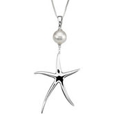 Sterling Silver Pearl and  Starfish Necklaces