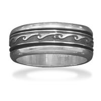 Men's Sterling Silver Wave Design Spin Ring