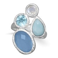 Blue Topaz Rings, Moonstone, Larimar, Chalcedony Ring