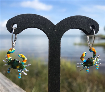 Enamel Crab Earrings