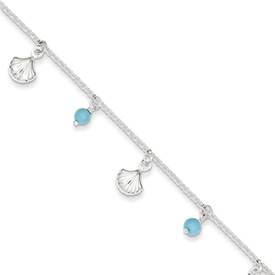 Shell and Turquoise Anklet