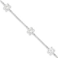 Sterling Silver Flower Anklet