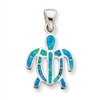 Blue Opal Sea Turtle Pendant