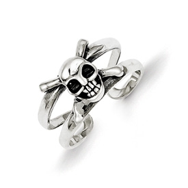 Skull and Crossbones Toe Ring Sterling Silver
