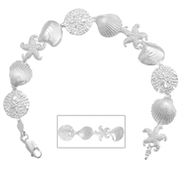 Sterling Silver Sand Dollar, Starfish, Shell Bracelet