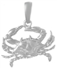 Sterling Silver Blue Crab Pendant (Small)
