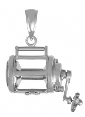 Men's Sterling Silver Moveable Fishing Reel Pendant