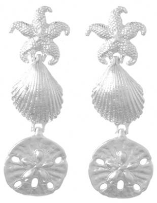 Sterling Silver Sand Dollar, Starfish, Shell Earrings