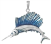 Sterling Silver Sailfish Pendant with Blue Enamel